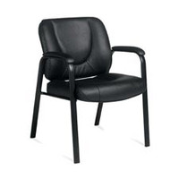 Global Luxhide Bonded Leather Guest Chair, Black