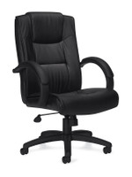 Offices to Go OTG11618B High-Back Luxhide Executive Office Chair with Fixed Arms