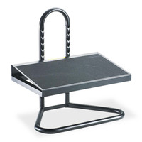 "Fixed 8° angle helps relieve muscle strain. Heavy gauge black tubular steel construction. May relieve pressure points in workers who stand most of the day. Nine positions and height range of 5 1/2"" to 15"". Textured, anti-slip platform. Locks together easily with button tabs."