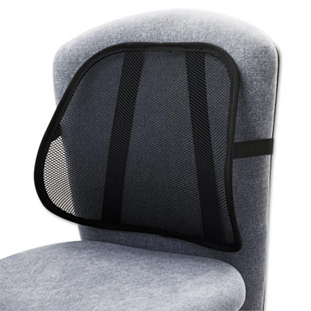 Lightweight construction and breathable mesh allows airflow for cool, comfortable use. Elastic strap secures backrest in place. Ideal for office, auto or home use.