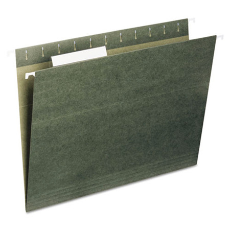 Hanging File Folders, 1/5 Tab, 11 Point Stock, Legal, Standard Green, 25/Box