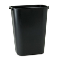 Rubbermaid Black Deskside Plastic Wastebasket