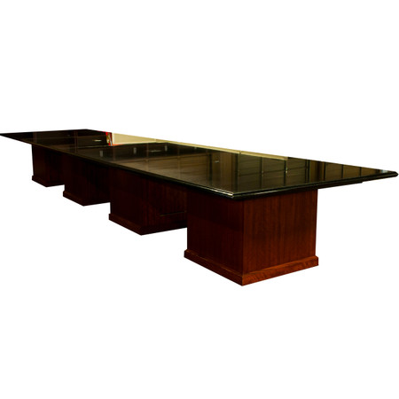 "20' x 60"" Black Marble Granite Conference Table With Power/Data Boxes"