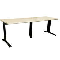 "Steelcase 30"" x 84"" Tan Training Table With Grommets"