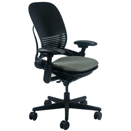 Steelcase Leap V1 Series Multi-Function Task Chair With Plastic Back and Green Seat