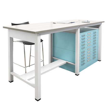 Ranger standing-height Team Tables are the perfect solution for project or other team meetings, and has the same great strength and quality as our standard Ranger drafting table.  Team Table Steel Cap Flush Base 5-Drawer Files