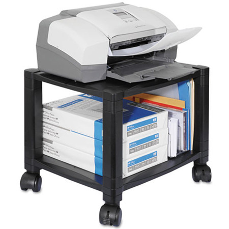 Black Mobile Printer Stand, Two-Shelf