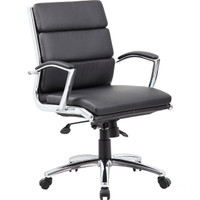 Black Vinyl Mid-Back Segmented Executive Office Chair
