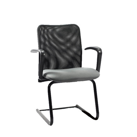 Black Mesh Guest Chair With Gray Upholstered Seat With Arms