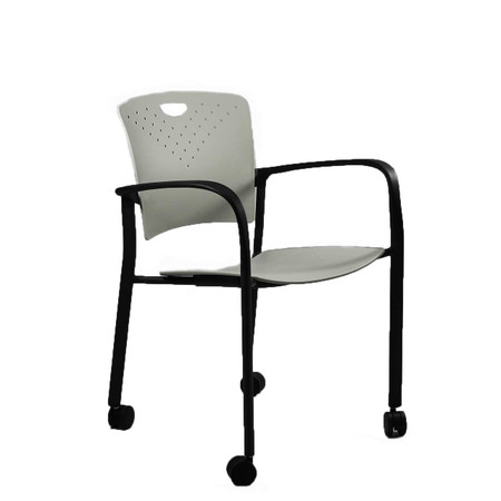 Eurotech Grey Stacking Side Chair With Casters