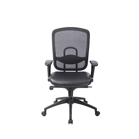 Eurotech Black Leather Accent Task Chair With Mesh Back