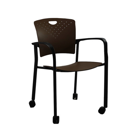 EuroTech Coffee Stacking Side Chair With Casters