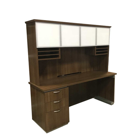 DMI Modern Walnut Credenza With Hutch
