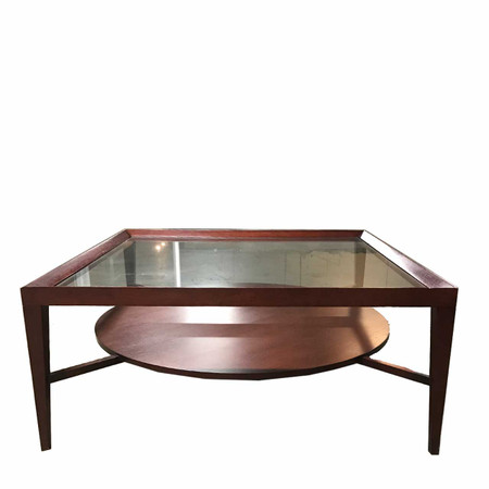 Mahogany Frame Glass Coffee Table