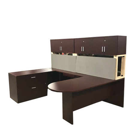 Global U-Shape Bullet-Top Desk With Hut An File Credenza Right Handed