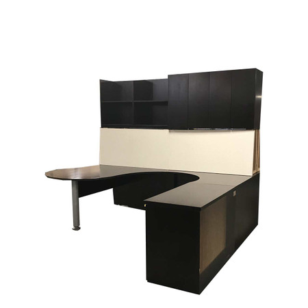 Dark Walnut U-Shape Desk With Wall Mounted Hut & Combo File Right handed