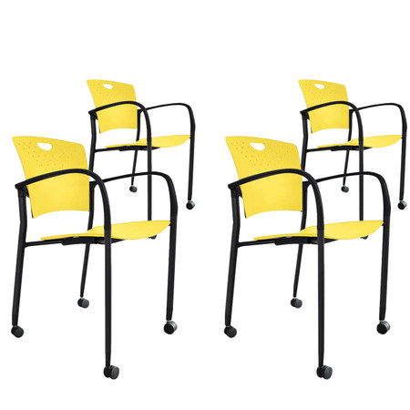 Eurotech Green Stacking Side Chair 4-Pack