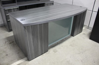 Express Office Furniture Status Series  Bow Front Desk With Glass Modesty