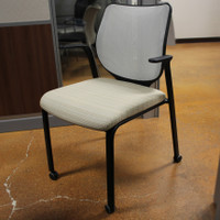 Hon Gray-Mesh Back & Tan Upholstered Seat Guest Chair With Casters