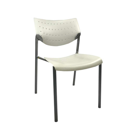 Stacking Guest chair In White With Nickle Frame