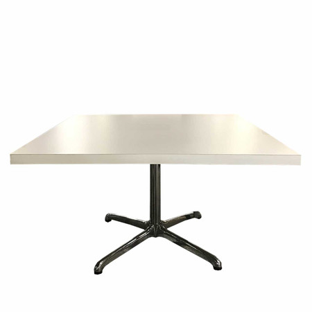 "48"" White Cafe Table With Polished Chrome Base"