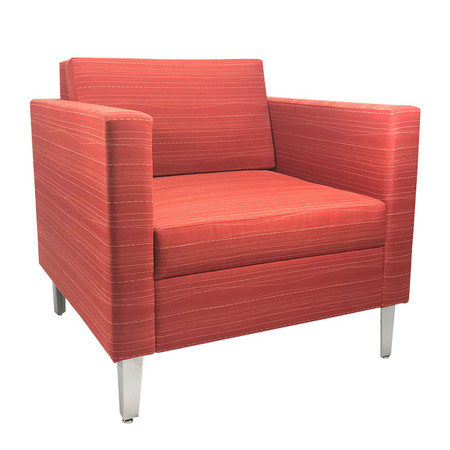 Red Pattern Lounge Chair With Chrome Legs