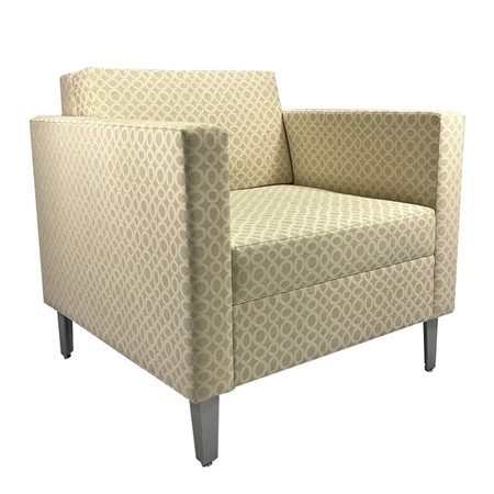 Pattern White/Cream Lounge Chair With Chrome Legs