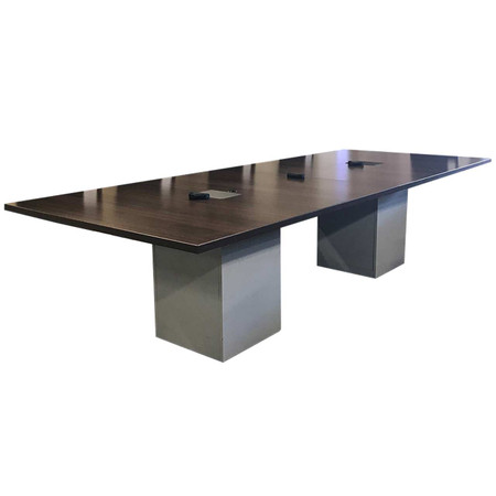 10' Dark Walnut Conference Table With Two Data Boxes