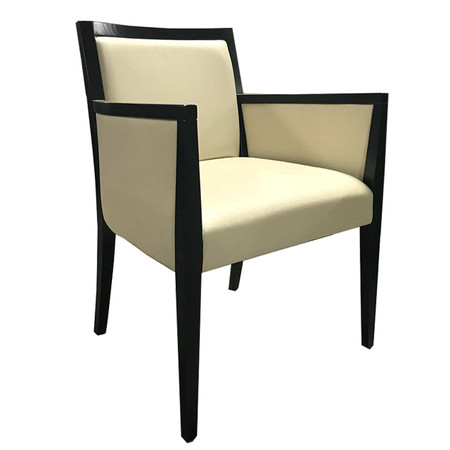 Cream Vinyl Guest Chairs With Espresso Wood Frame