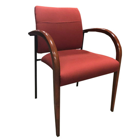 Manna Red Fabric Guest Chair With Rounded Wood Arms