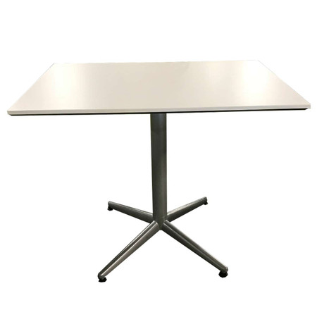 "36"" White Laminate Rectangle Break-Room Table With Silver Base"