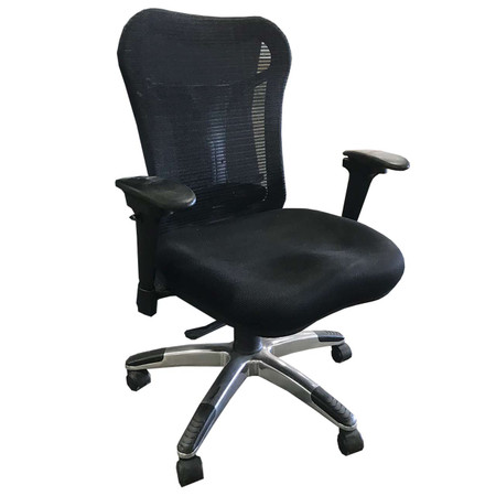 Black Mesh-Back Task Chair With Lumbar Support And Silver Base