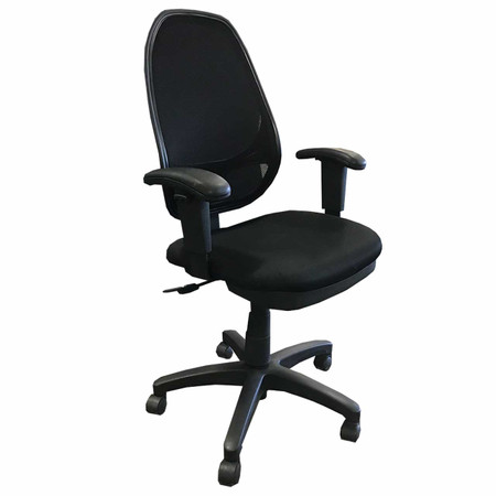 Global Black Mesh Back Task Chair With Height Adjustable Arms