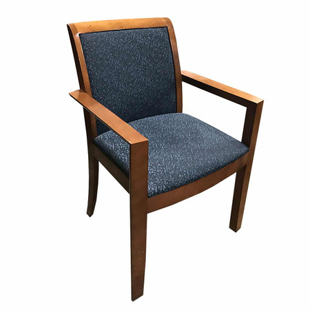 Steelcase Guest Chair Blue Seat Cherry Wood Frame
