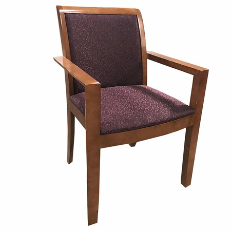 Steelcase Guest Chair With A Purple Seat & Cherry Wood Frame