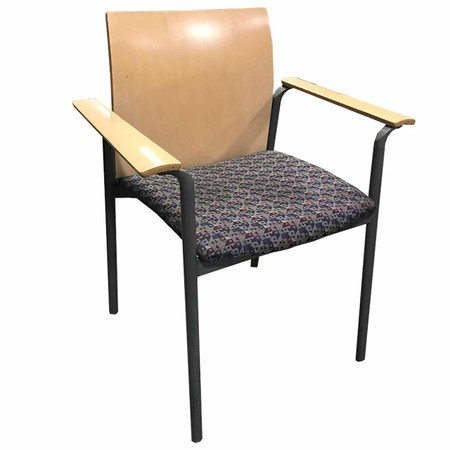 Maple Stack Guest Chair with Patterned fabric & Arms