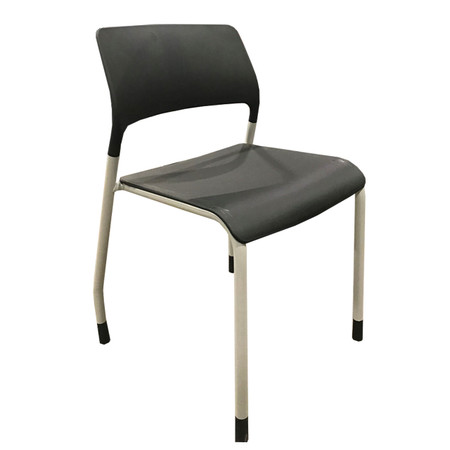 Patra Break-Room Chair In Black With Gray Frame