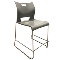 Gray Plastic Stacking Bar Height Chair