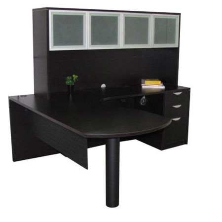 Express L-Shape Peninsula Desk Featured With Frosted Glass Door Hutch