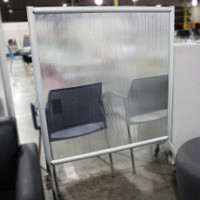 """Safco 42"""" Rumba Acrylic Screen Divider With Metal Trim On Casters"""