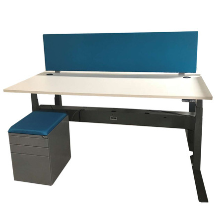 Clear Design Two Pod Height Adjustable Desk With Box Box files