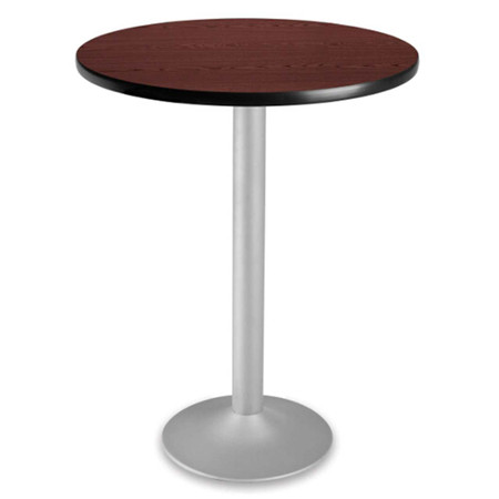 "30"" Round Cafe Height Folding Table With Pedestal Base Featured In Mahogany"