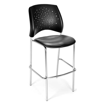 Stars Cafe Height Vinyl Chair With Chrome Frame Featured In Charcoal