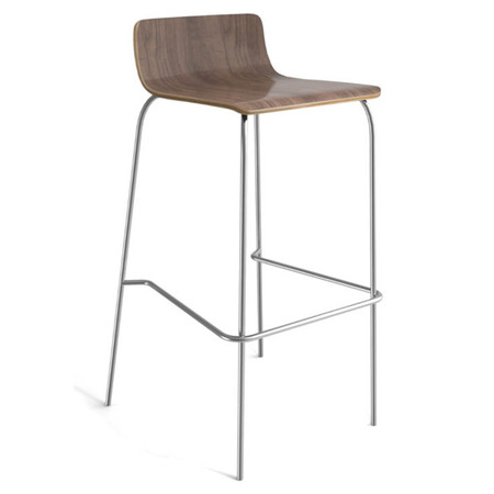 COE Cafe Height Low Back Wood Stool Featured In Modern Walnut