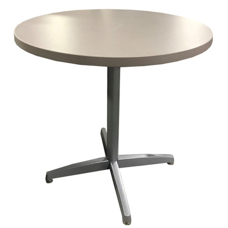 """Special T Tan 30"""" Round Laminated Break-room Table With Silver Base"""