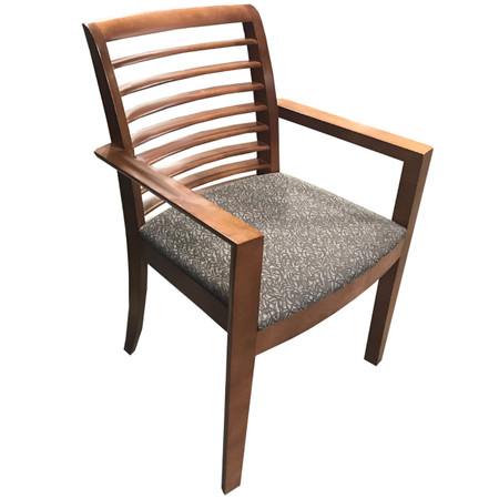 Steelcase Guest Chair With Slat Black & Grey Upholstered Seat