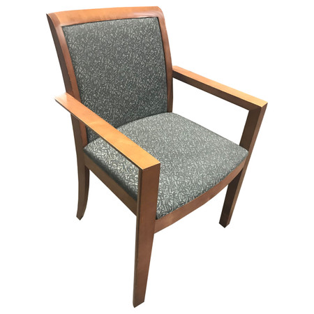Steelcase Cherry Wood Frame Guest Chair With Green Upholstered Seat