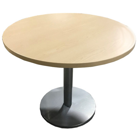 "36"" Maple Round Table With Silver Base"