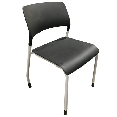 Black Patra Guest Chair With Silver Frame