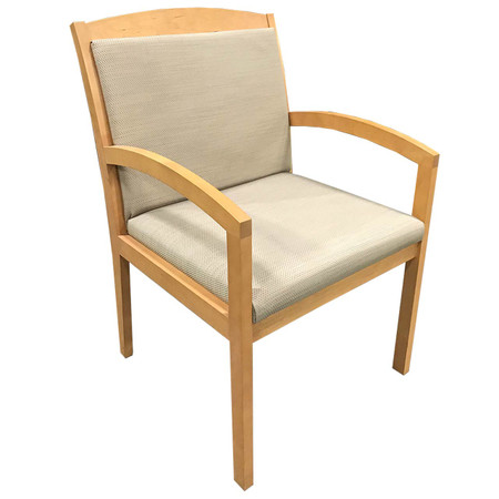 Tan Upholstered Back & Seat Maple Wood Frame Guest Chair